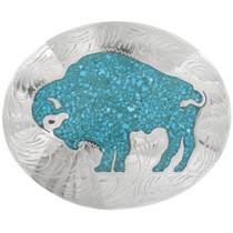 Inlaid Turquoise Buffalo Belt Buckle 23286