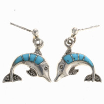 Turquoise Dolphin Post Earrings 24314