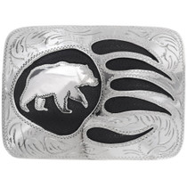 Overlaid Silver Bear Belt Buckle 23847