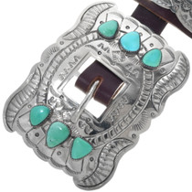 Turquoise Silver Concho Belt Traditional Navajo Patterns 23025