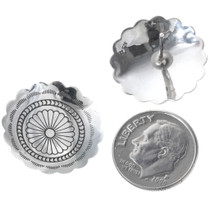 Hammered Silver Concho Post Earrings 20775