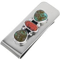 Navajo Turquoise Coral Silver Money Clip 11605