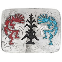 Kokopelli Silver Belt Buckle 25749