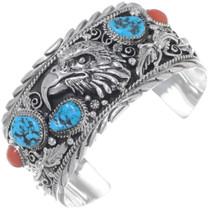 Turquoise Sterling Silver Eagle Bracelet 18057