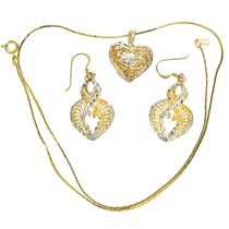 Gold Heart Necklace Set 22780