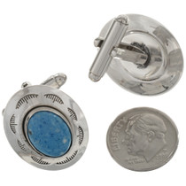 Silver Lapis Southwest Cuff Links 15909