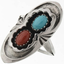 Turquoise Coral Silver Ring 27263