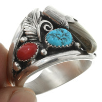 Turquoise Coral Southwest Mens Ring 25998