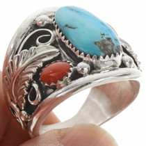 Native American Turquoise Coral Mens Ring 21598