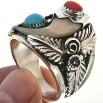 Turquoise Coral Navajo Mens Ring 23620