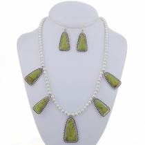 Gaspeite Silver Necklace Set 24648