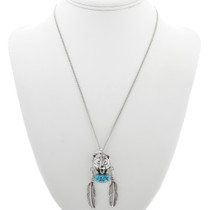 Sterling Bear Turquoise Feather Pendant 22654