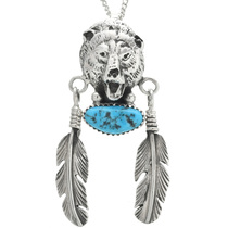 Turquoise Silver Bear Pendant 22654