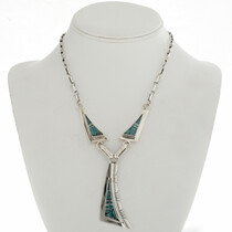 Inlaid Turquoise Y Necklace 15179