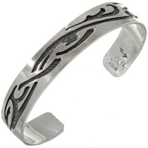 Tribal Tattoo Overlaid Silver Cuff 23597