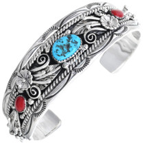 Turquoise Coral Silver Bracelet 15681