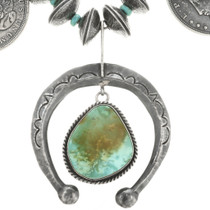 Hammered Silver Turquoise Dangle Naja 22969