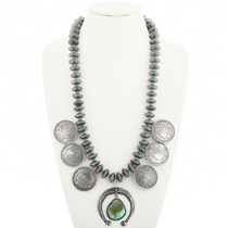 Turquoise Morgan Dollar Squash Blossom Necklace 22969