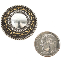 Black Hills Gold Silver Concho 1 Inch Rounds Screw On Style