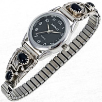Black Onyx Silver Ladies Watch  23012