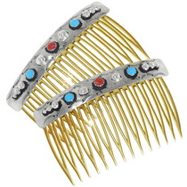 Turquoise Coral Hair Combs 25830