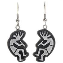 Kokopelli Silver French Hook Earrings 14399