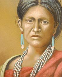 Native Woman Wearing Santo Domingo Jewelry 21108