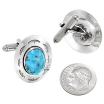 Genuine Turquoise Hammered Sterling Silver Cuff Links 23169