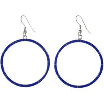 Blue Lapis Silver Hoop Earrings 19482