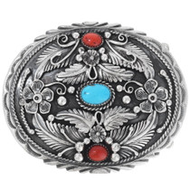 Turquoise Coral Belt Buckle 24699