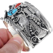 Navajo Turquoise Coral Mens Cuff 14990