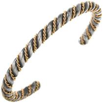 Sterling Silver Gold Twist Wire Bracelet Antiqued Finish 19690