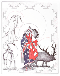 Patriotric Indian Chief Totem Art Print 17217