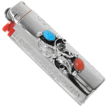 Navajo Turquoise Silver Bic Lighter Case 23059
