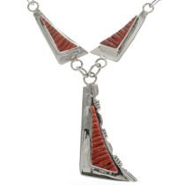Navajo Coral Silver Necklace 15203