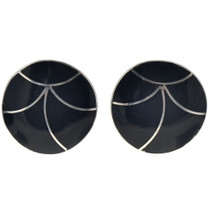 Zuni Black Jet Silver Earrings 33067