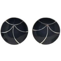 Zuni Black Jet Silver Earrings 33067
