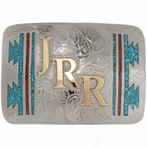 Gold Initials Belt Buckle 25932
