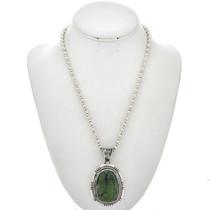 Green Chrysoprase Silver Navajo Pendant 25371