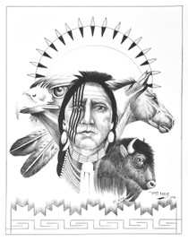 Stoic Mud Clan Warrior Wildlife Ink Drawing Print by Navajo Frankie C Nez