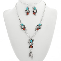 Navajo Turquoise Coral Necklace Earring Set 24776