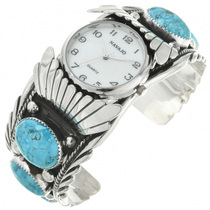 Turquoise Silver Mens Watch Cuff 23462