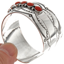Coral Sterling Cuff Bracelet 14758