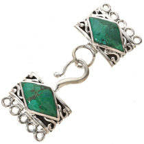 Sterling Silver Turquoise Five Strand Necklace Hook and Eye Set 0040