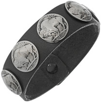 Leather Buffalo Nickel Bracelet 24001