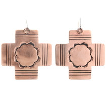 Copper Cross Handmade French Hook Earrings 22320