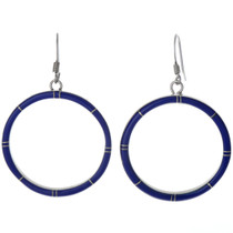 Inlaid Lapis Silver Hoop Earrings 19660