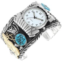 Sterling Silver Turquoise Gold Elk Watch 16025