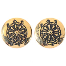 Hopi Turtle Gold Post Earrings 14465