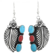 Turquoise Coral Silver Earrings 26668
